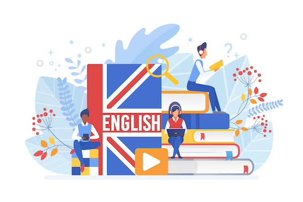 People Learning English Isometric Vector Illustration. Distance Education, Online Learning Concept. Students Reading Books 3d Cartoon Characters. Using Hi Tech Gadgets For Teaching Foreign Languages.